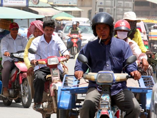 Motorbikes on a Phnom Penh street.