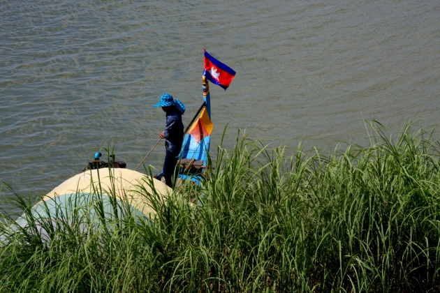 A Cambodian flag on a fishing boat, Phnom Penh.